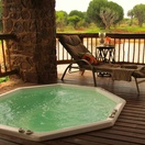 Jacuzi at the bar area overlooking dam with a great view of Buyskop Mountain
